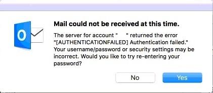 iCloud password not working on Outlook 2016 Mac
