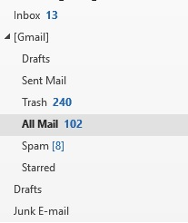 Missing Gmail All Mail Folder in Outlook 2016